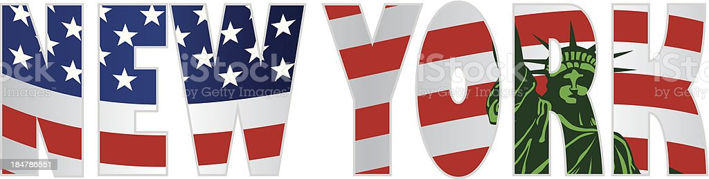 New York Text Outline US Flag Statue of Liberty Illustration royalty-free stock vector art
