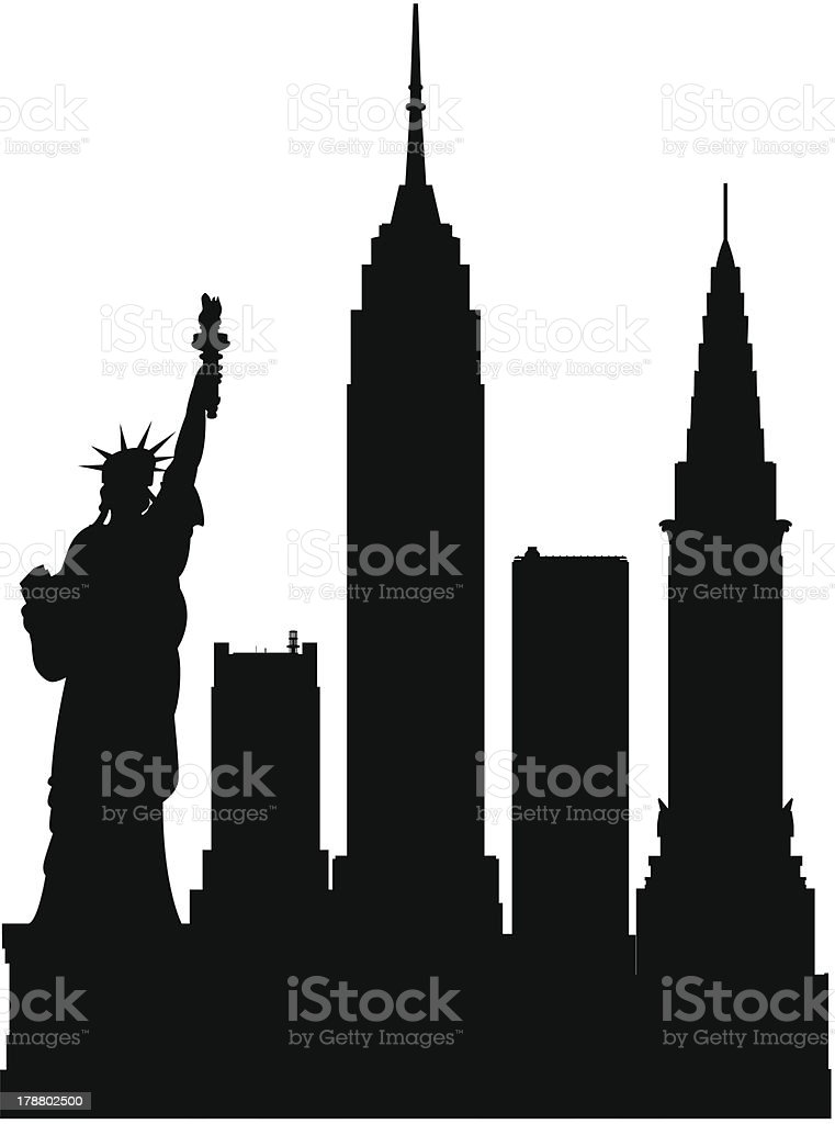 New York (Each Building is Moveable and Complete) royalty-free stock vector art