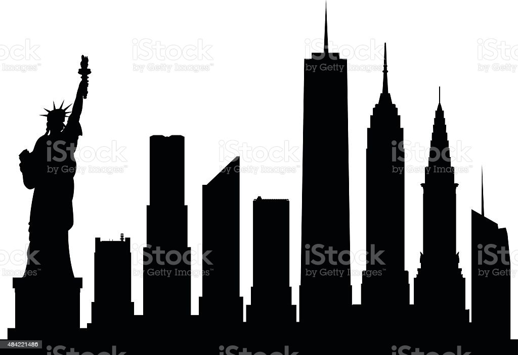 New York (Complete, Moveable Buildings) vector art illustration