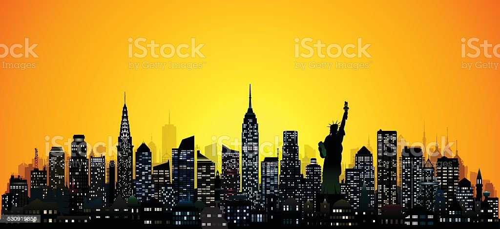 New York (124 Detailed, Complete, Moveable Buildings) vector art illustration