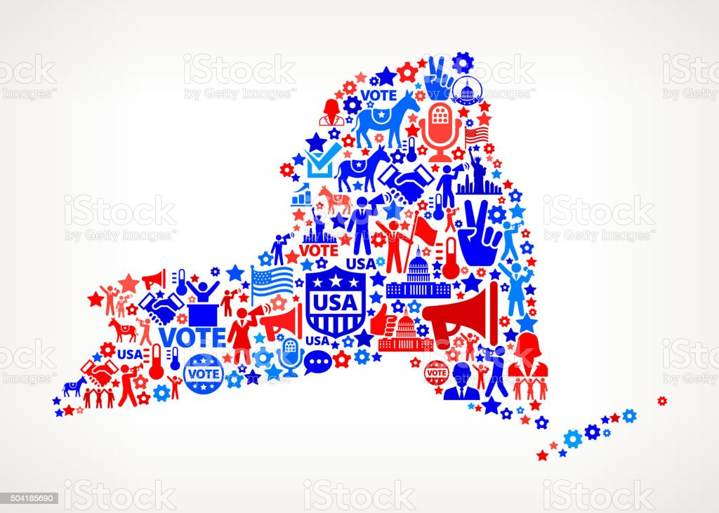 New York Vote and Elections USA Patriotic Icon Pattern vector art illustration