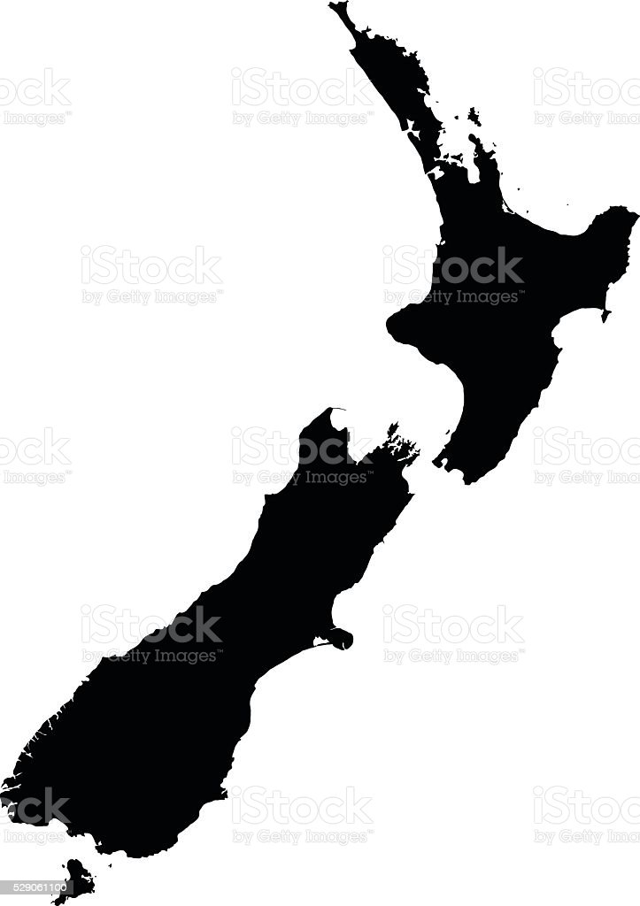 New Zealand black map on white background vector vector art illustration