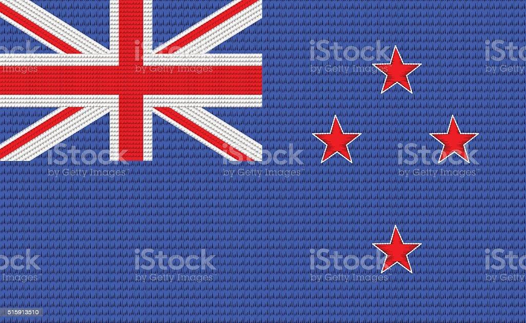 New Zealand flag embroidery design pattern vector art illustration