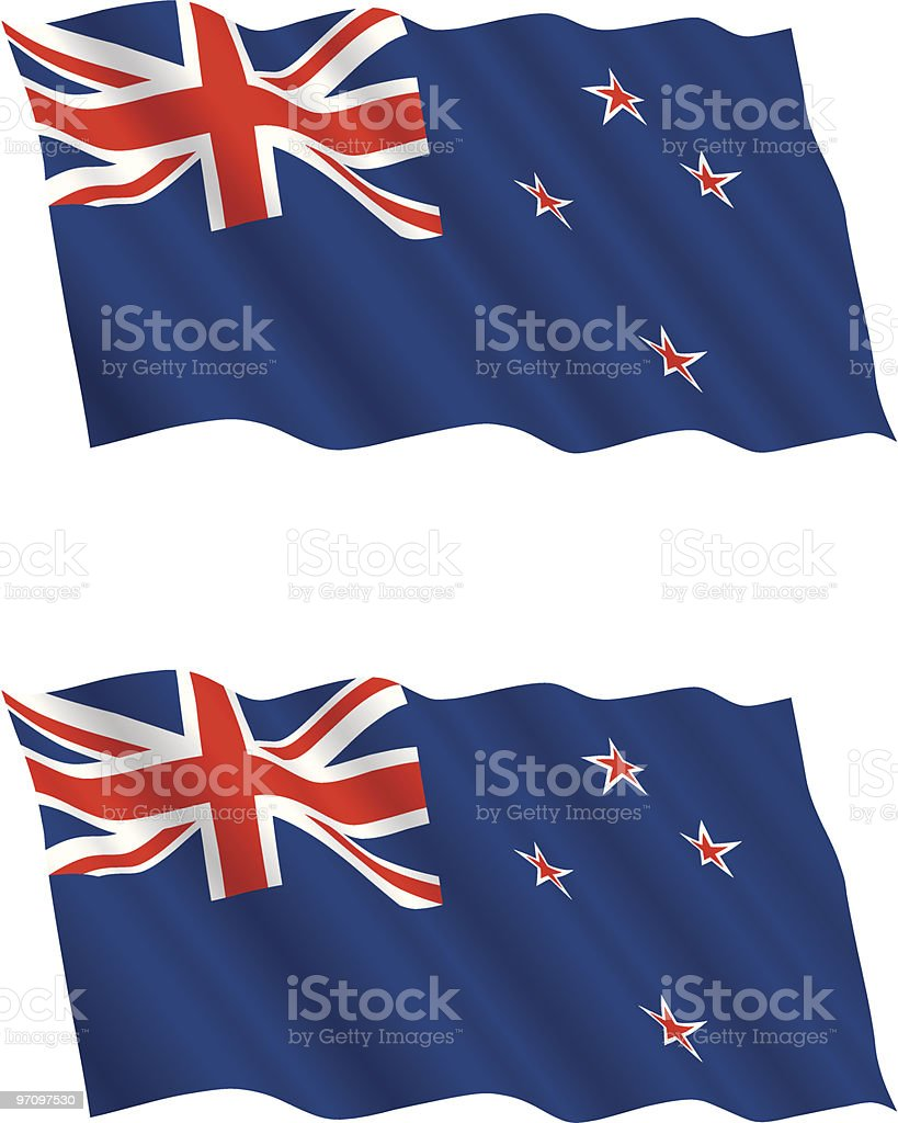 New Zealand Flag Flying in the Wind royalty-free stock vector art