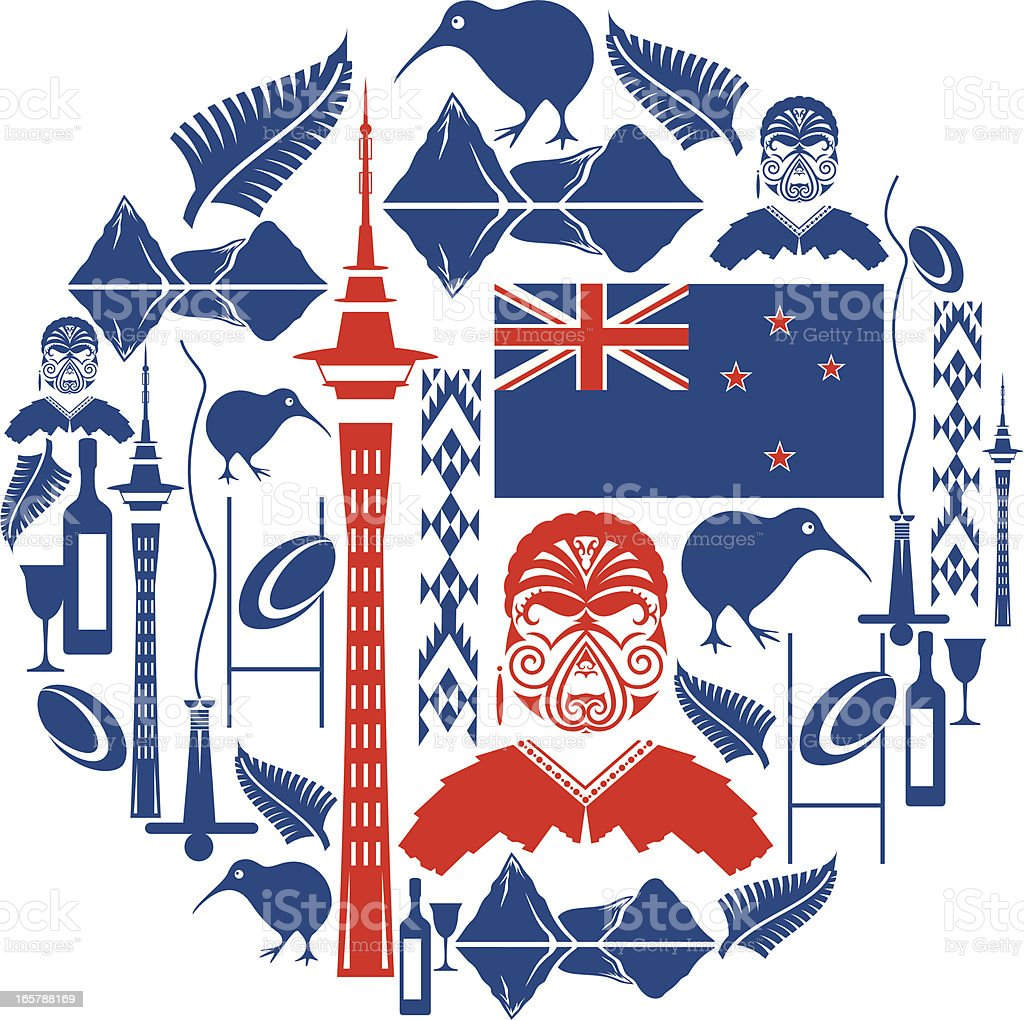 New Zealand Icon Montage vector art illustration