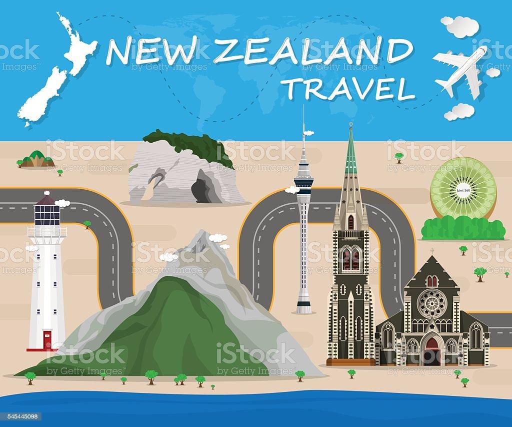 New Zealand Landmark Global Travel And Journey Infographic Vecto vector art illustration