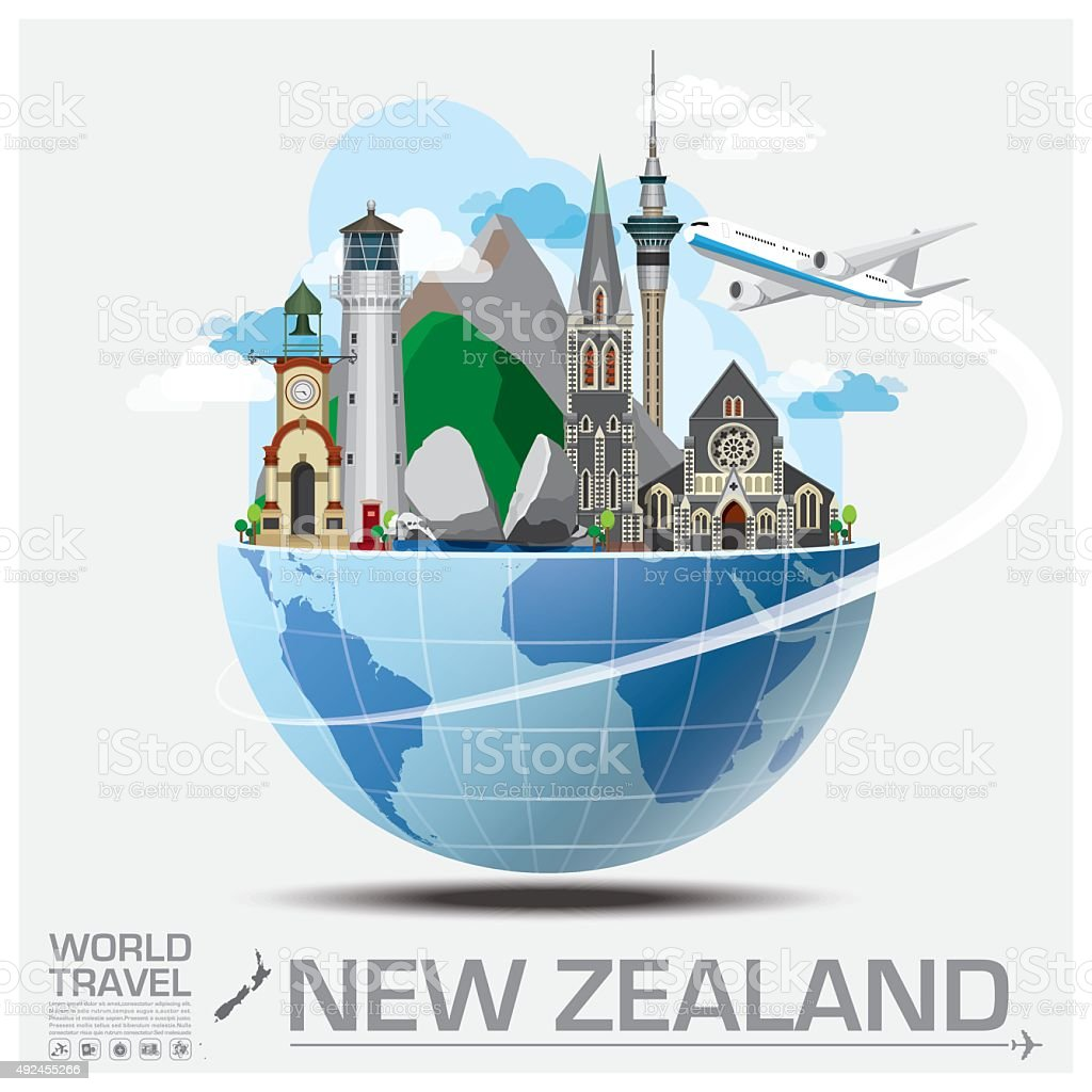 New Zealand Landmark Global Travel And Journey Infographic vector art illustration