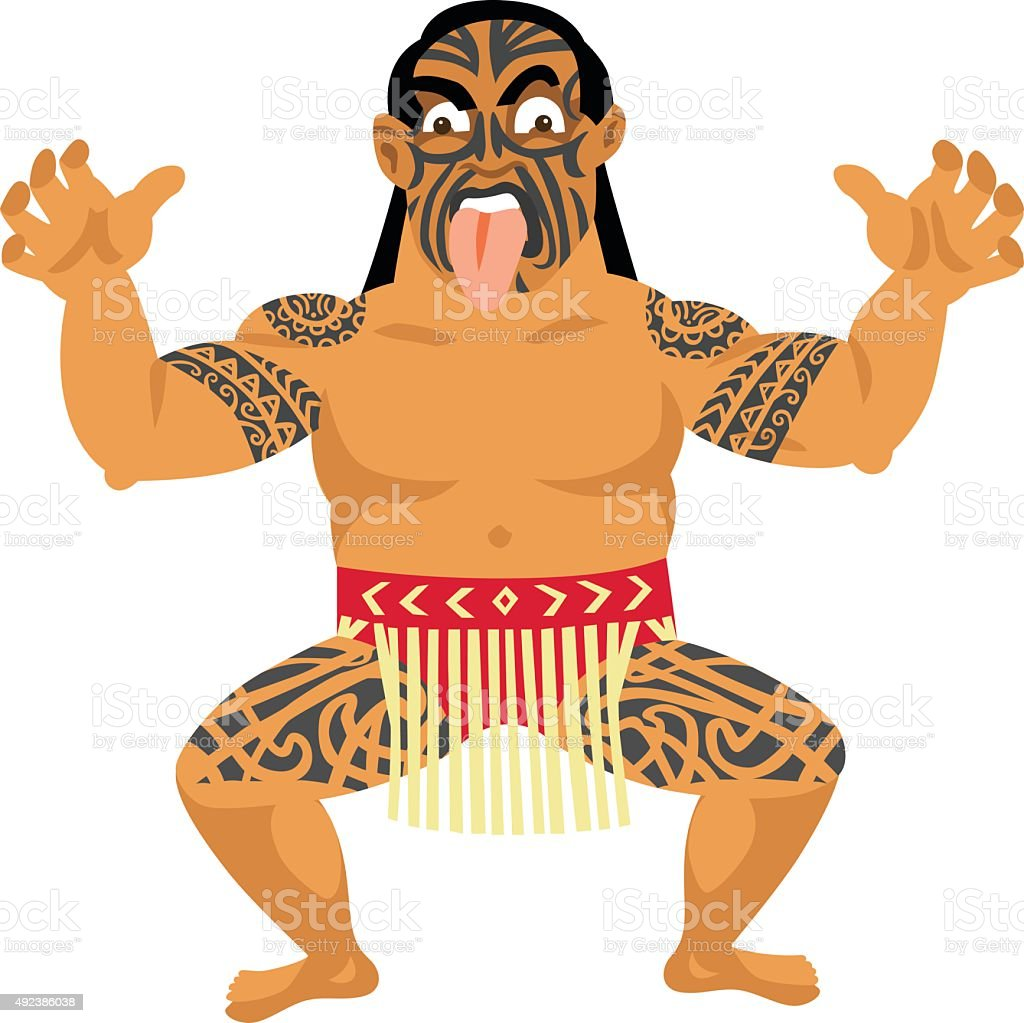New Zealand Maori Man vector art illustration