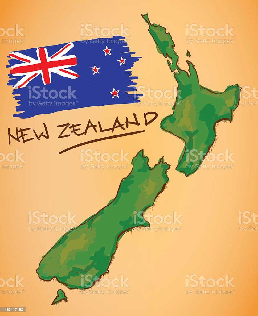 New Zealand Map and National Flag Vector vector art illustration