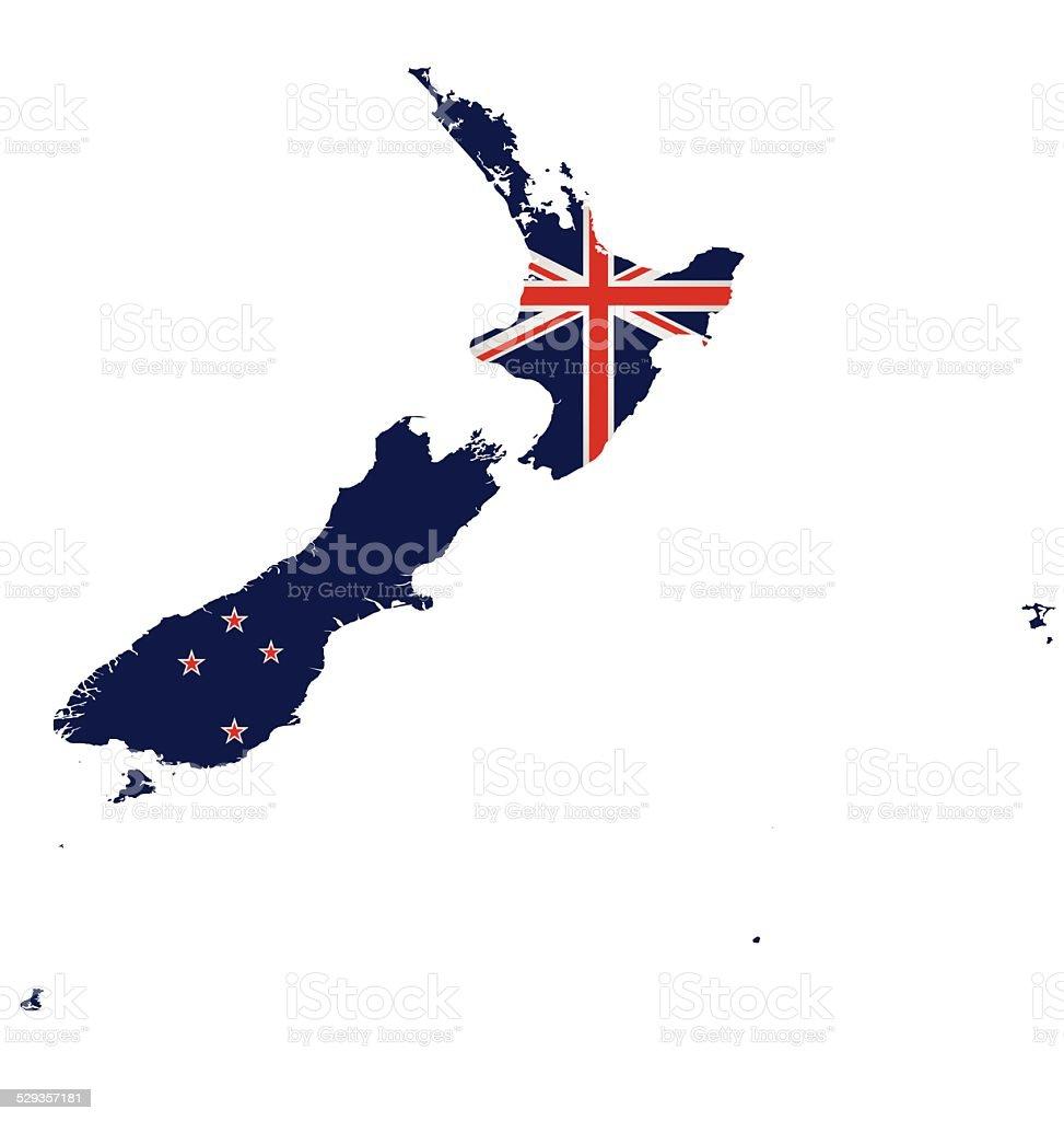 New Zealand Map Flag vector art illustration