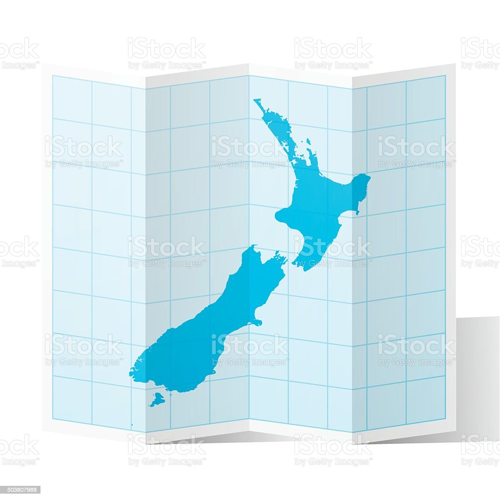 New Zealand Map folded, isolated on white Background vector art illustration