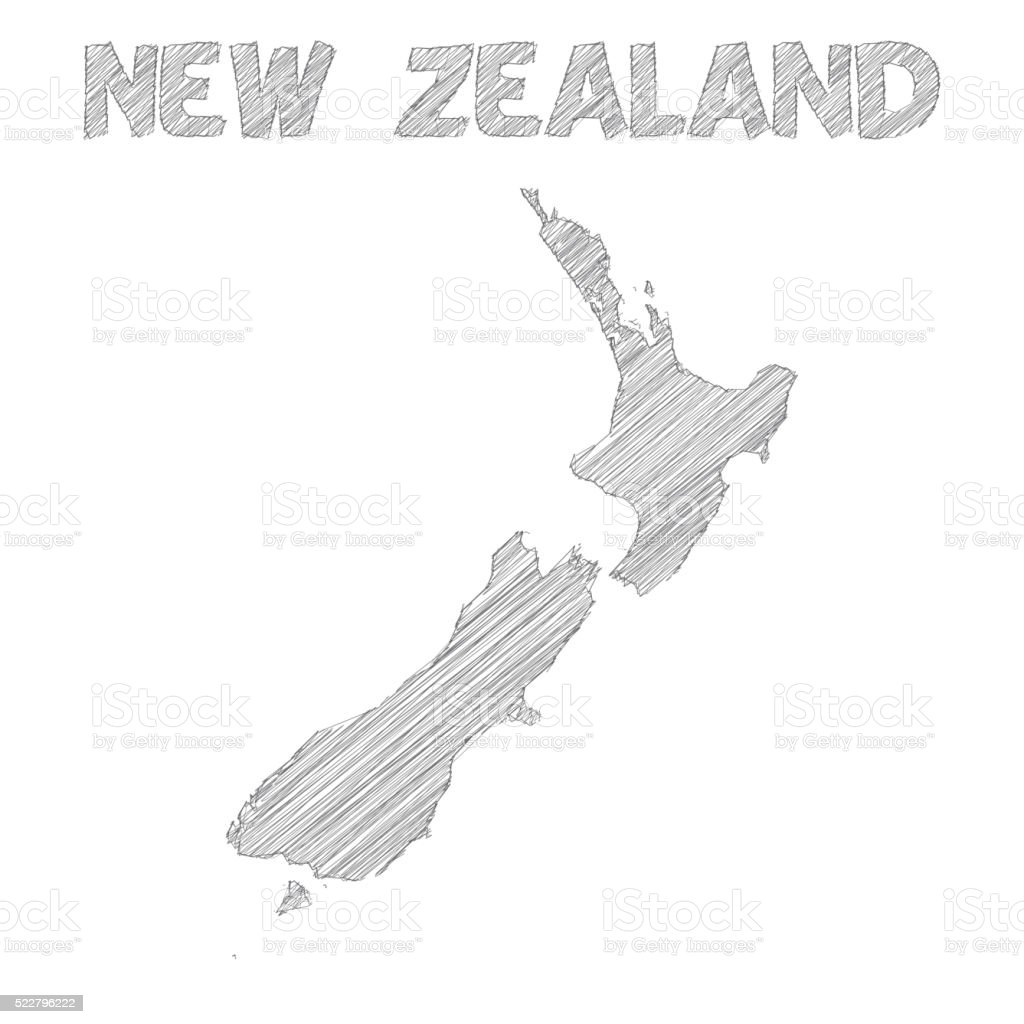 New Zealand map hand drawn on white background vector art illustration