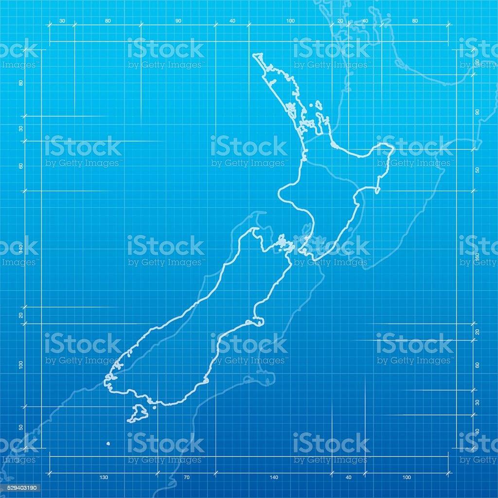 New Zealand  map on blueprint background vector art illustration