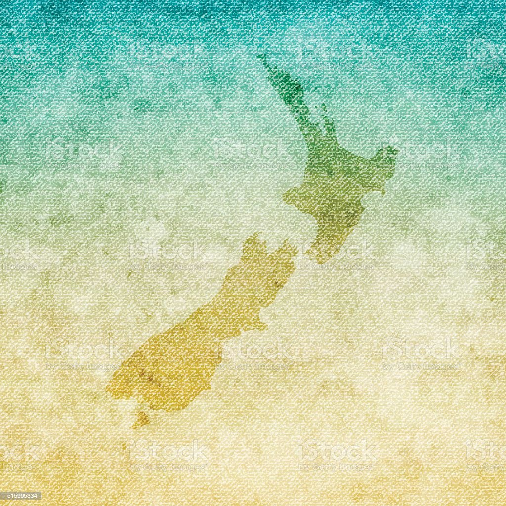 New Zealand Map on grunge Canvas Background vector art illustration