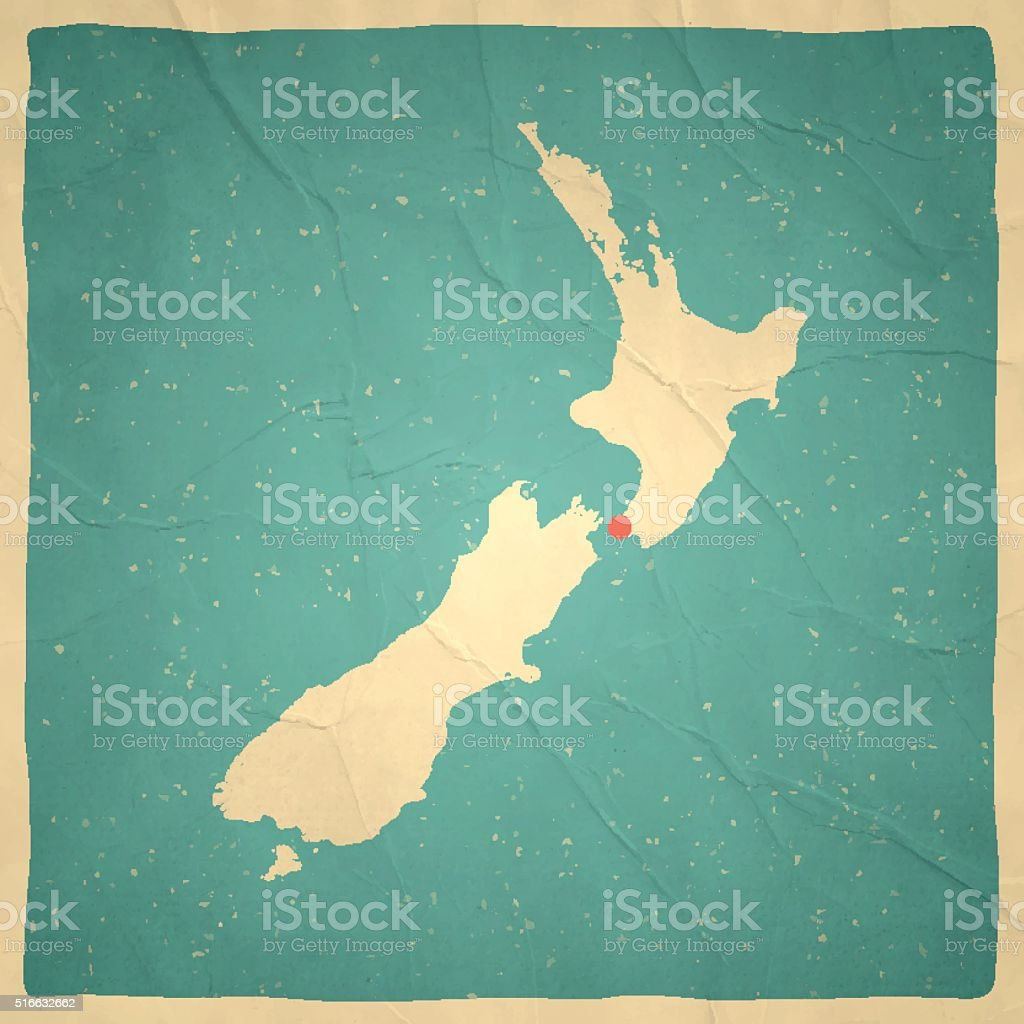 New Zealand Map on old paper - vintage texture vector art illustration