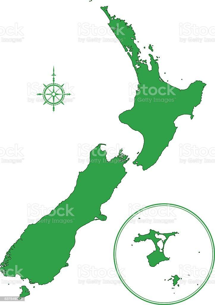New Zealand map vector art illustration