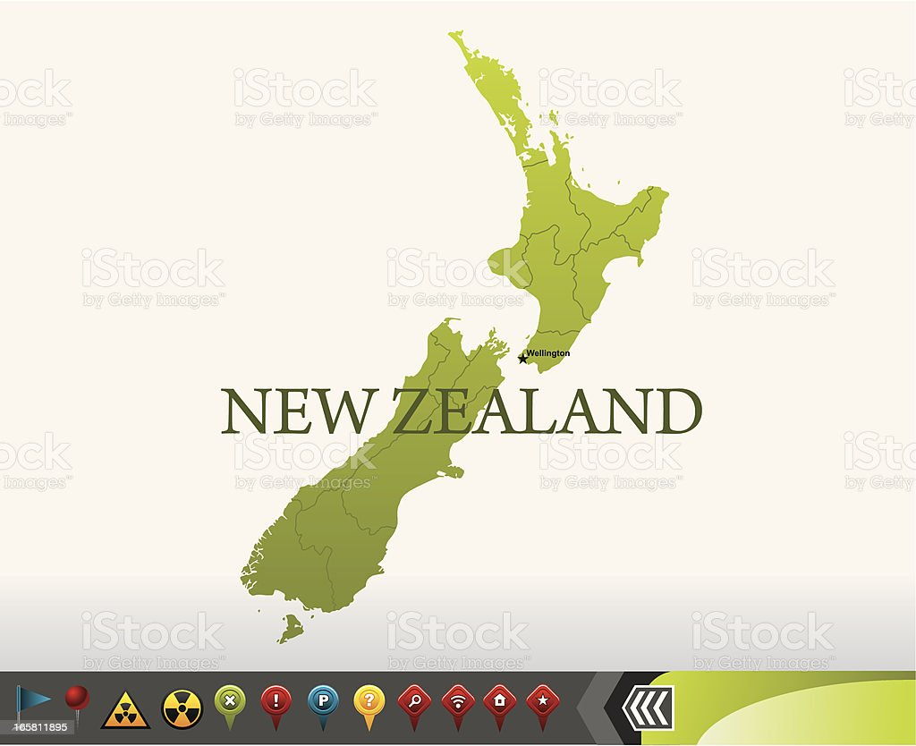 New Zealand map with navigation icons vector art illustration