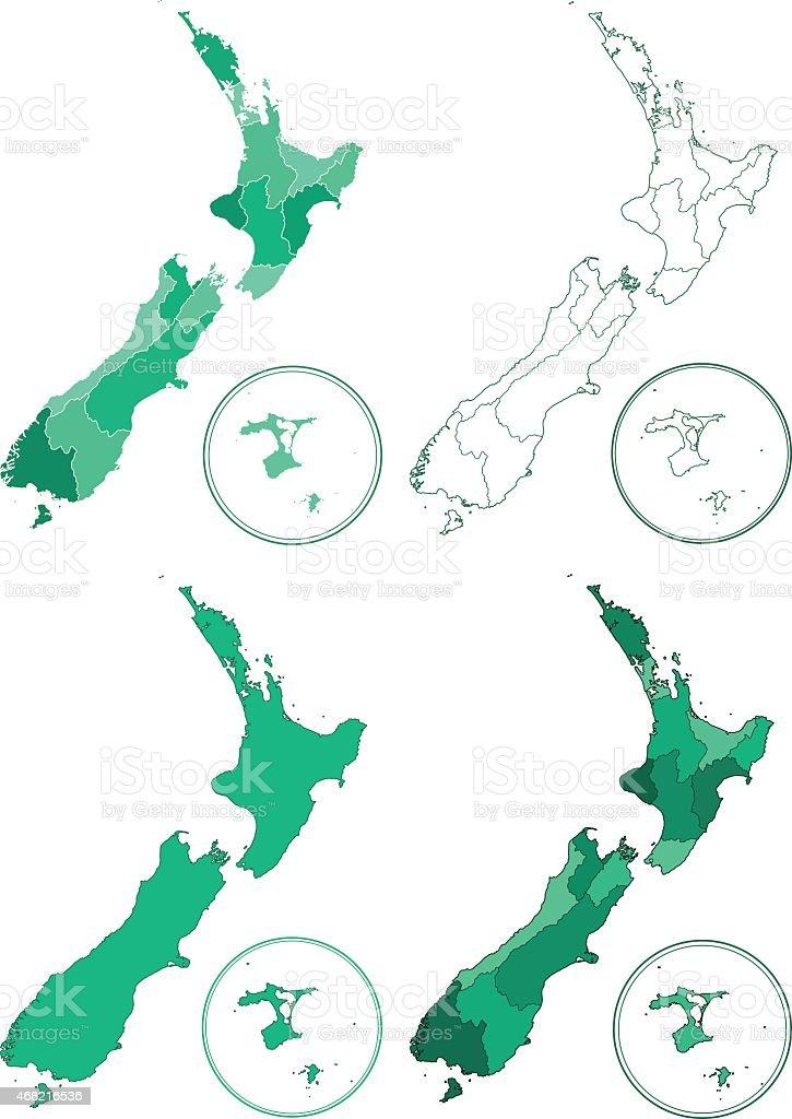 New Zealand maps vector art illustration