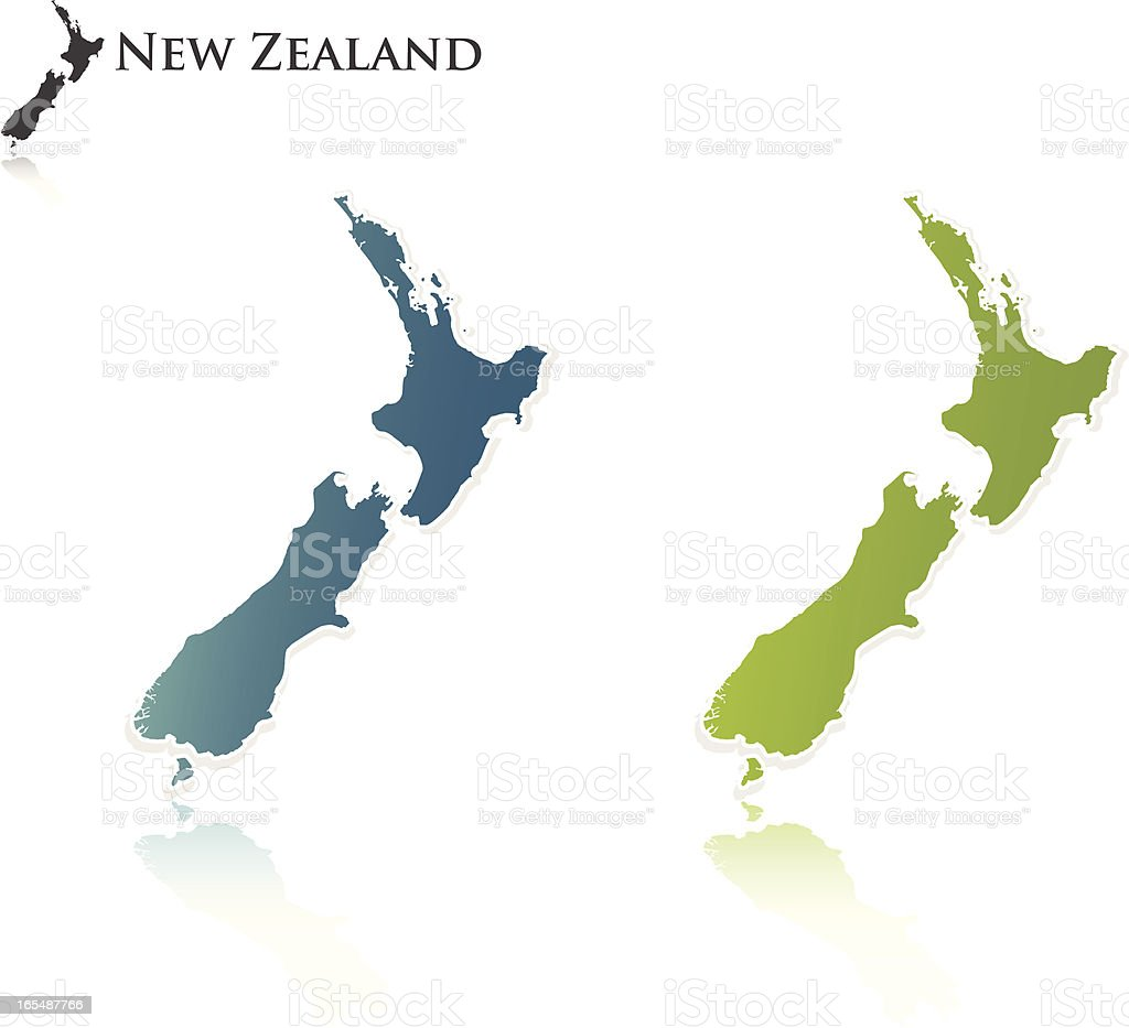 New Zealand Outline royalty-free stock vector art