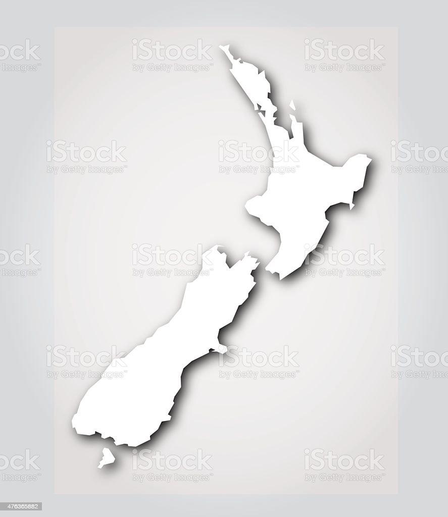 New Zealand Silhouette White vector art illustration
