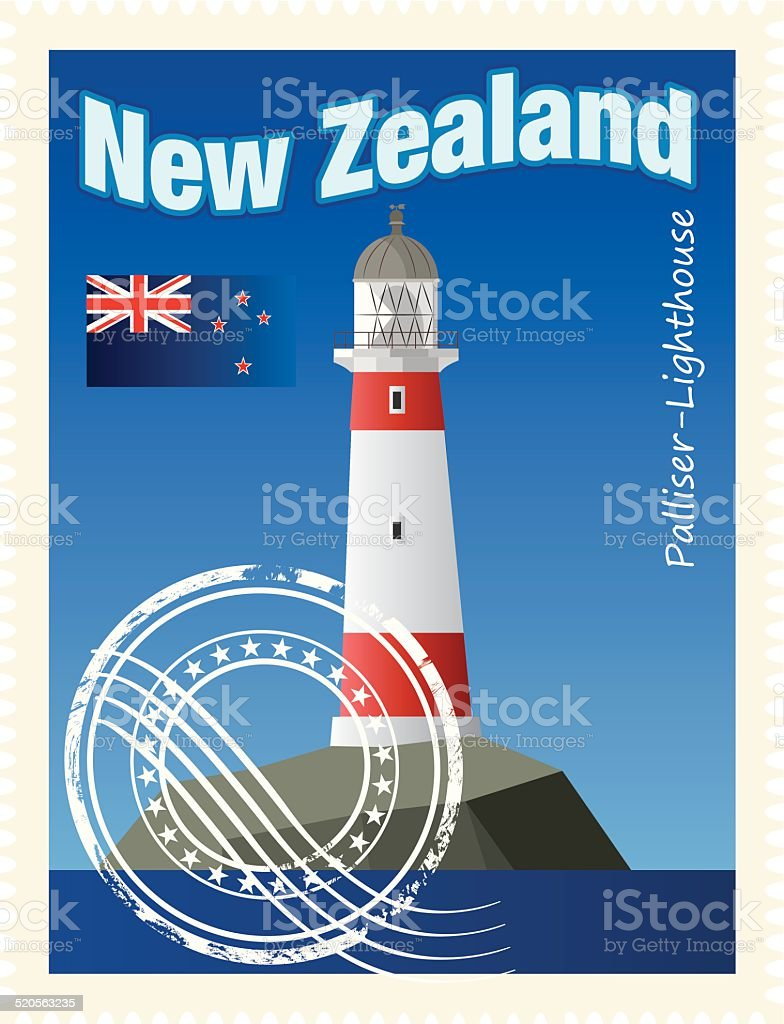 New Zealand Stamp vector art illustration