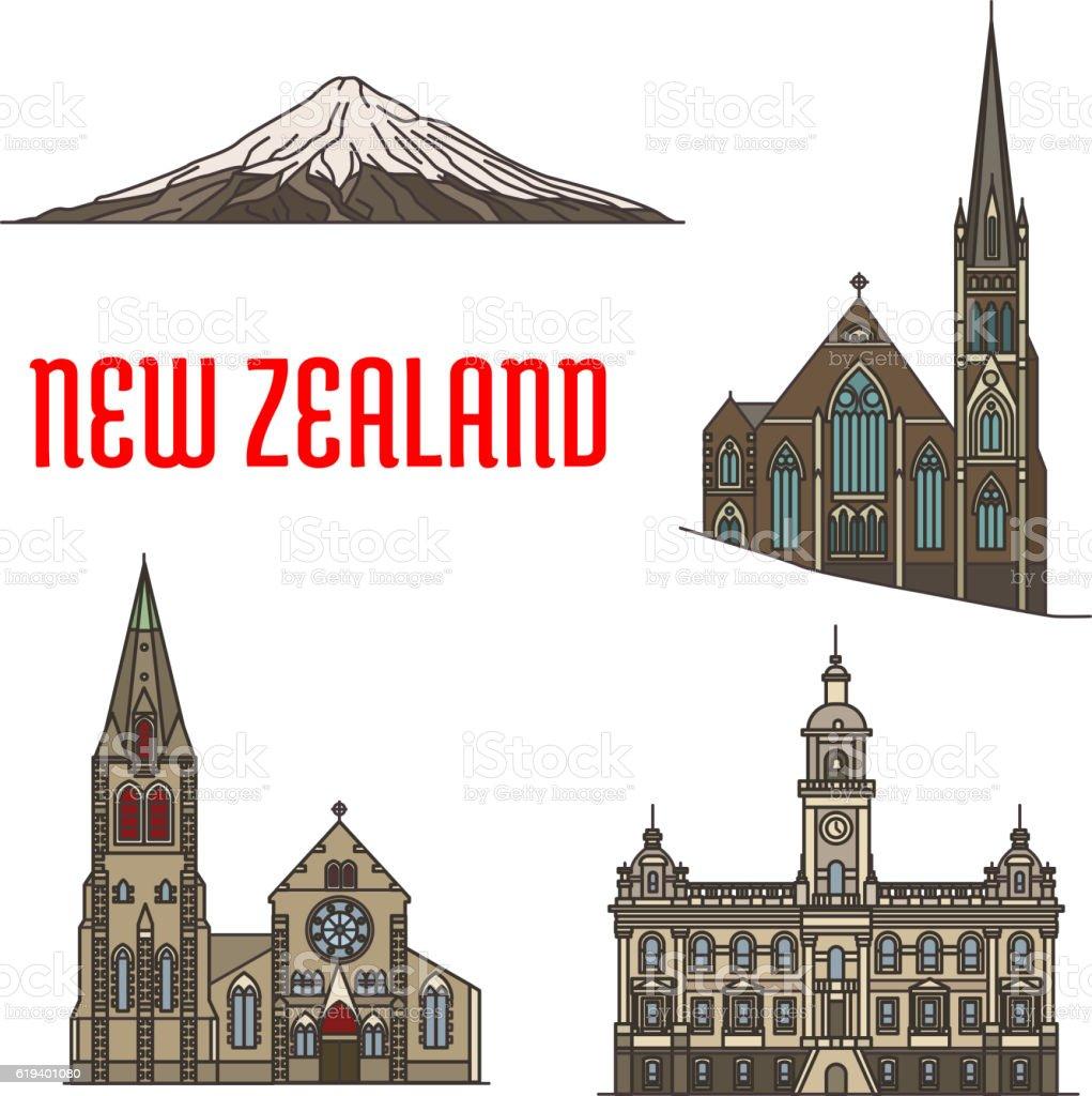 New Zealand tourist attractions and landmarks vector art illustration