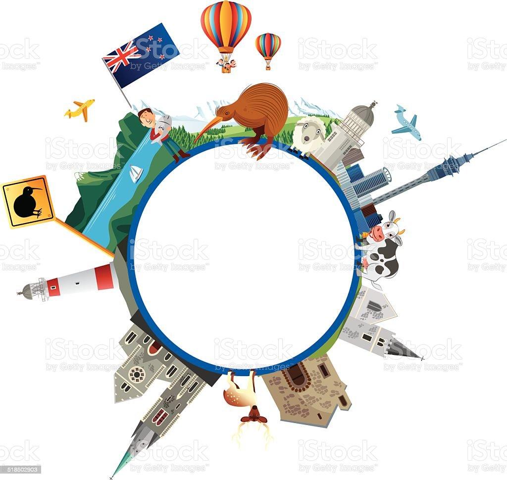 New Zealand Travel vector art illustration