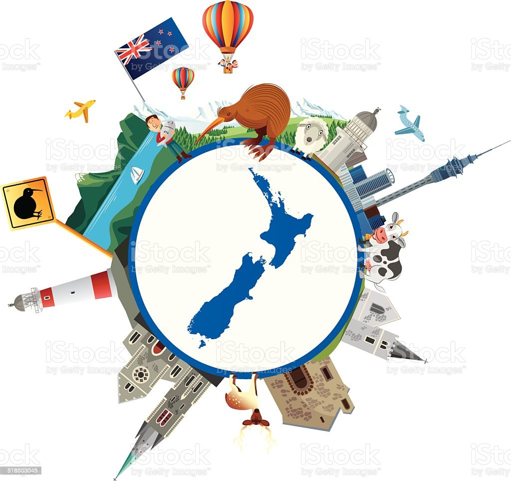 New Zealand Travel vector art illustration