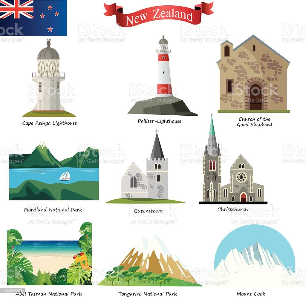 New Zealand vector art illustration