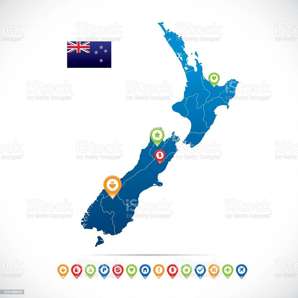 New Zealand Vector Map vector art illustration