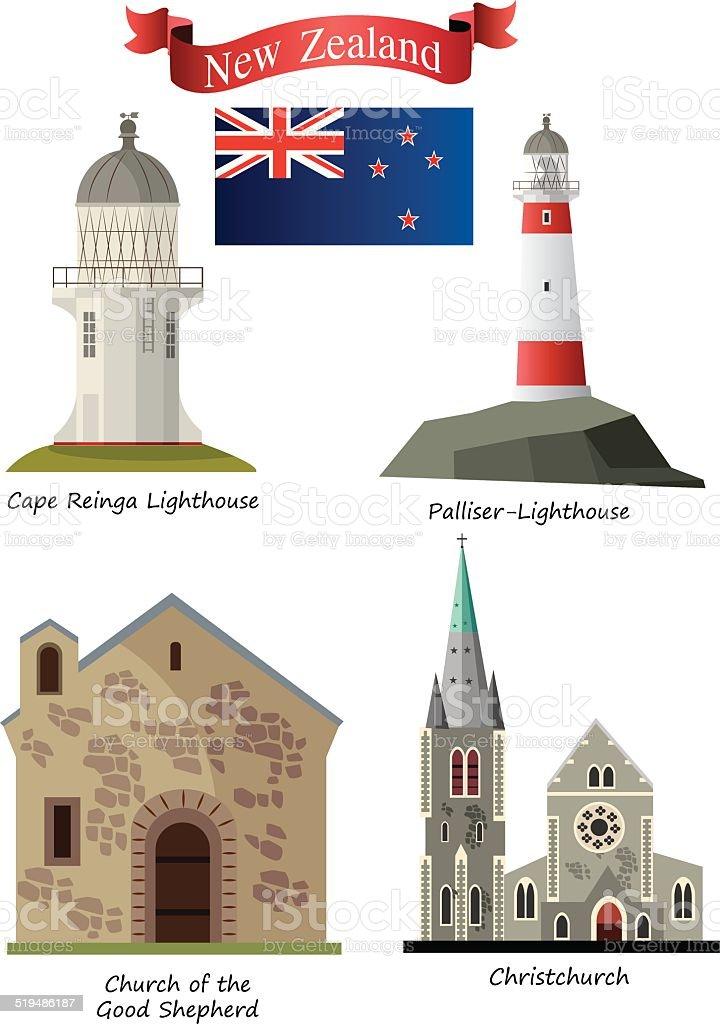 New Zeland Symbols vector art illustration