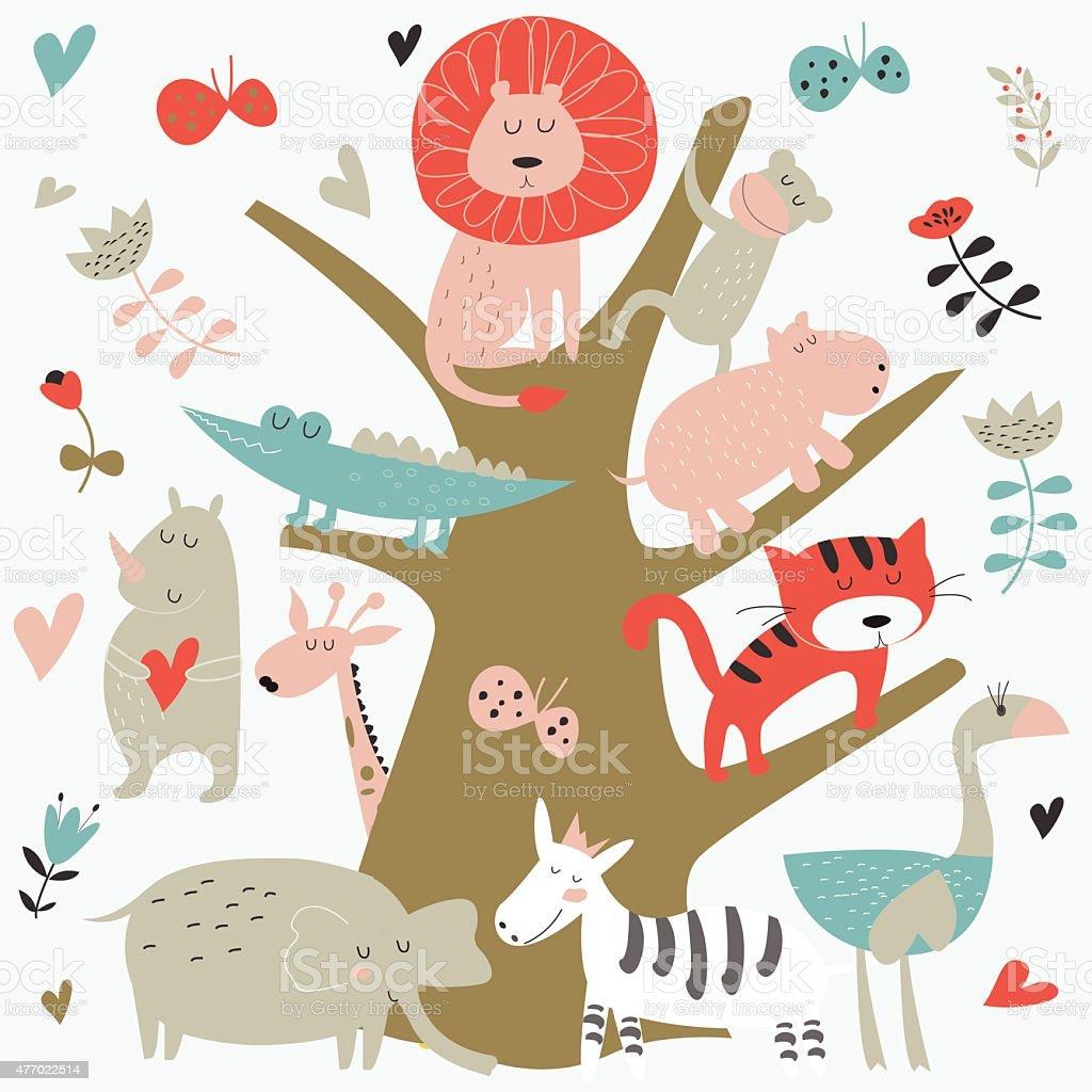 newblueafricatree vector art illustration