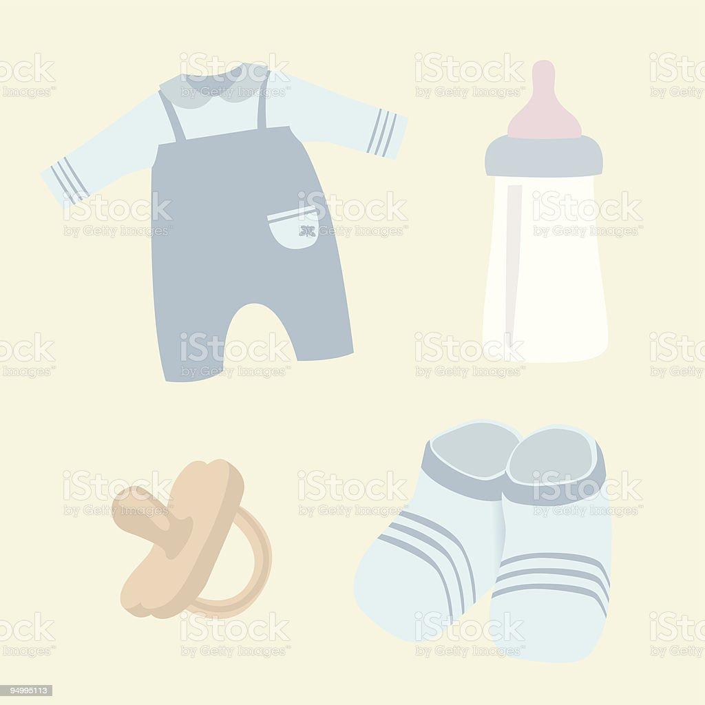 Newborn accessories vector art illustration