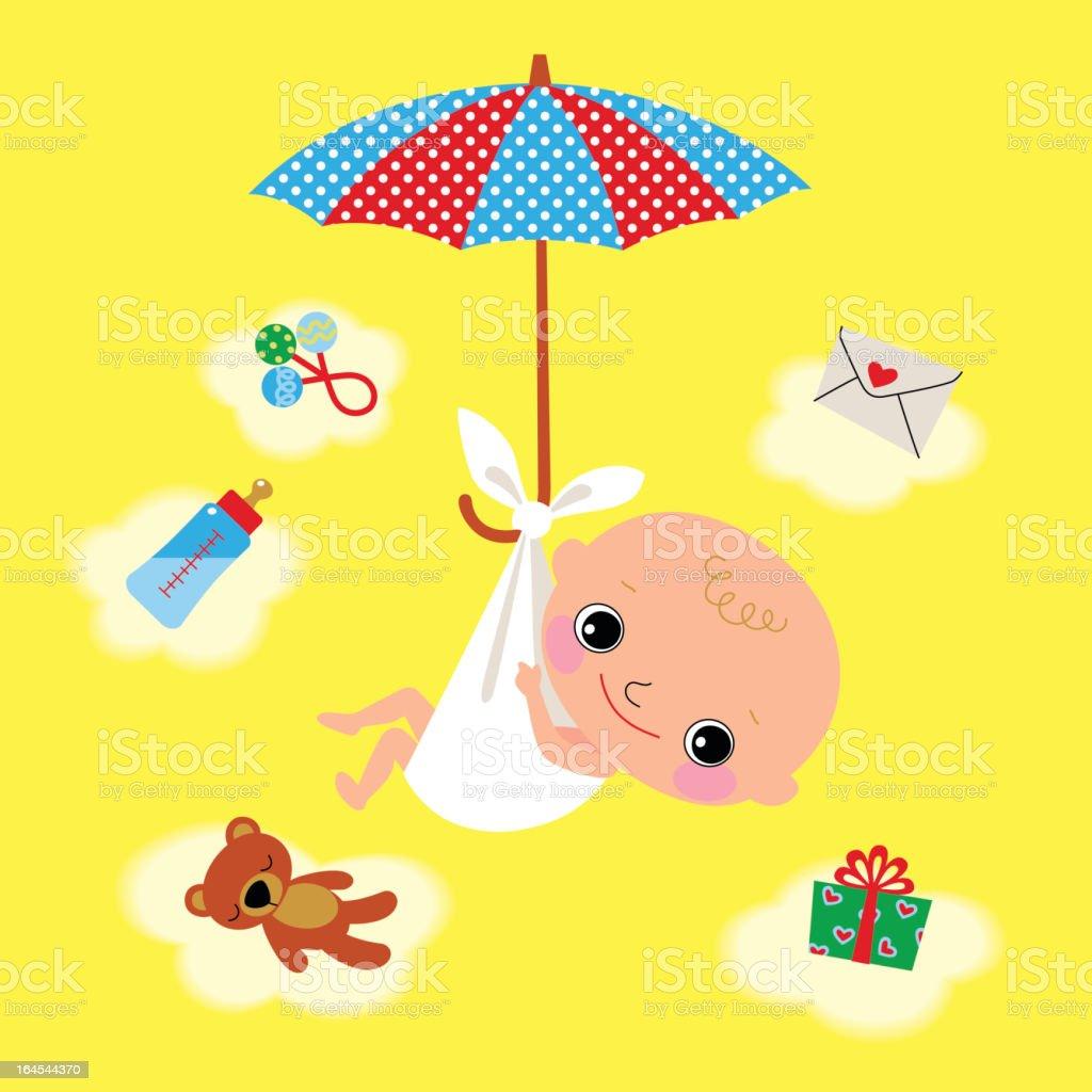 Newborn and Umbrella. royalty-free stock vector art