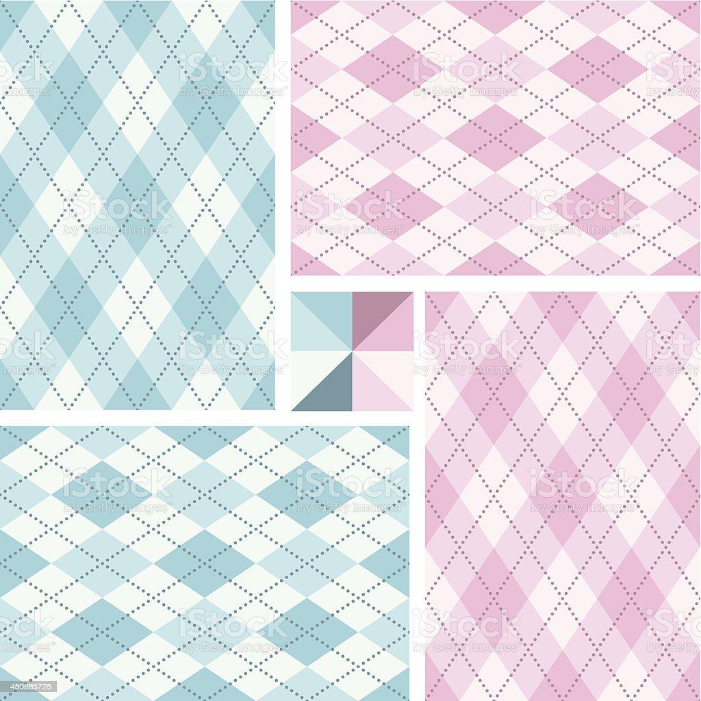 Newborn argyle seamless pattern set royalty-free stock vector art