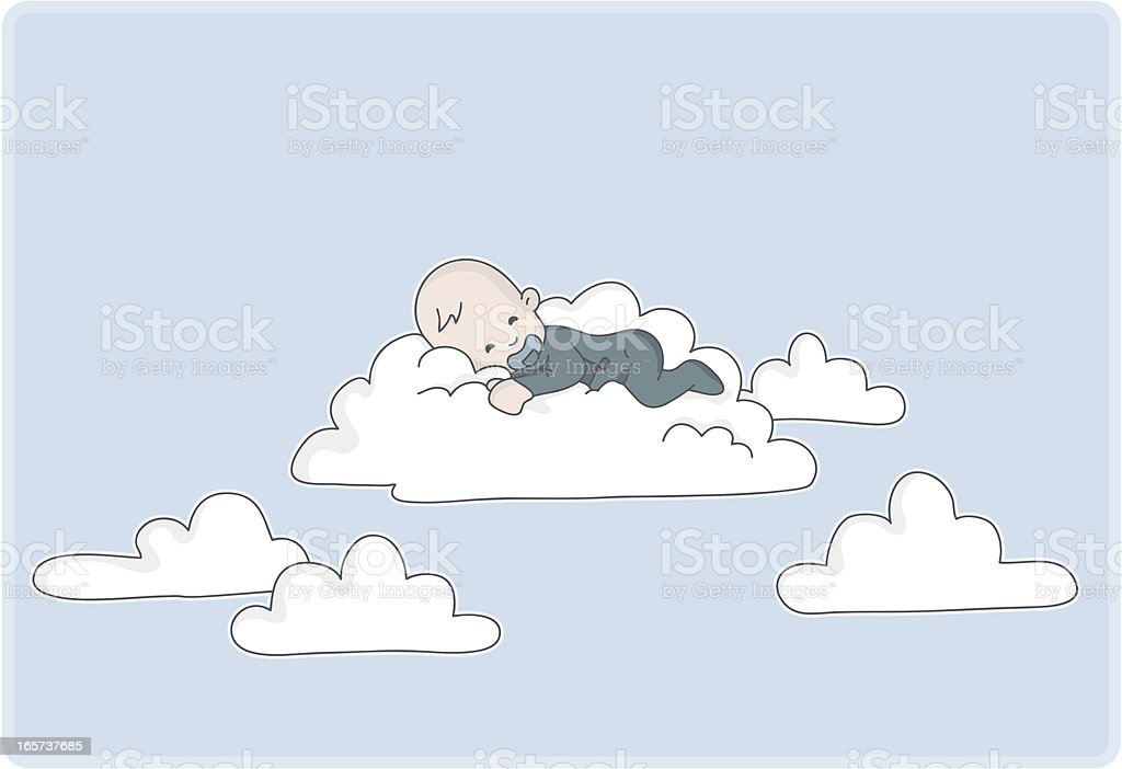newborn baby boy sleeps on a cloud vector art illustration