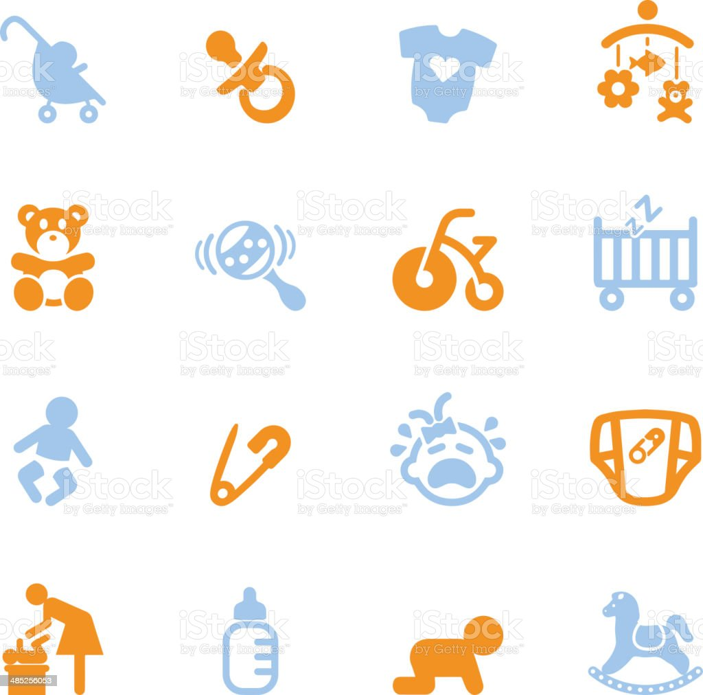 Newborn baby Color Series icons | EPS10 vector art illustration