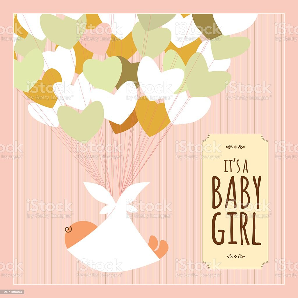 Newborn baby girl heart love text banner pink vintage vector art illustration