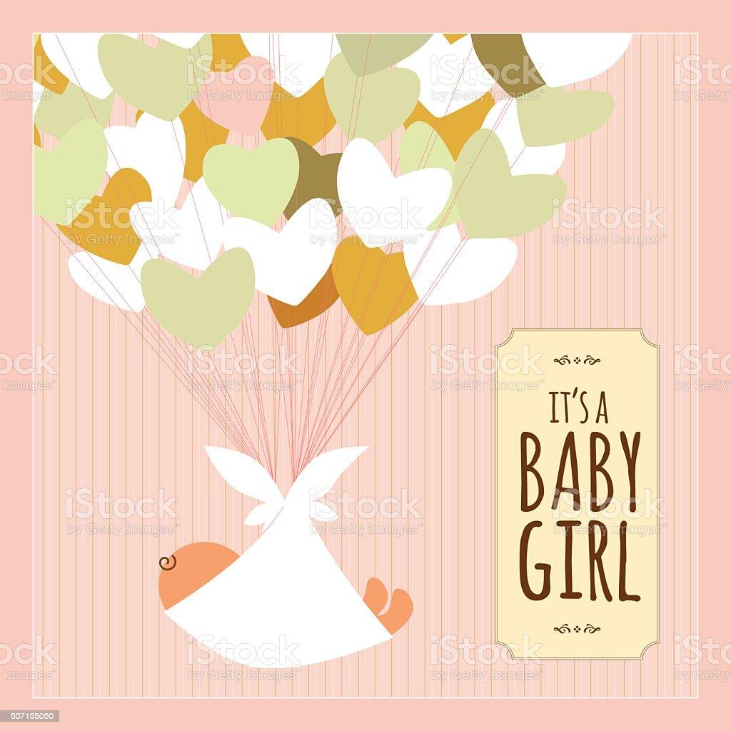 Newborn baby girl heart love text banner pink vintage vector art illustration