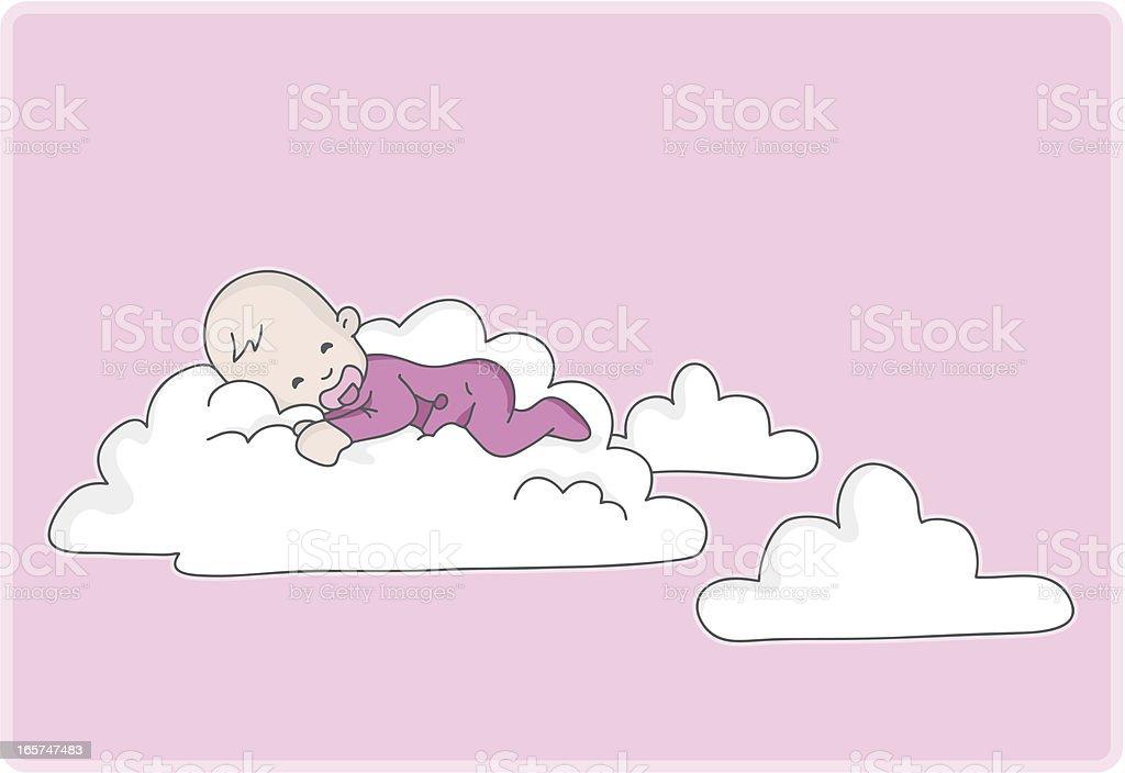 newborn baby girl sleeps on a cloud vector art illustration