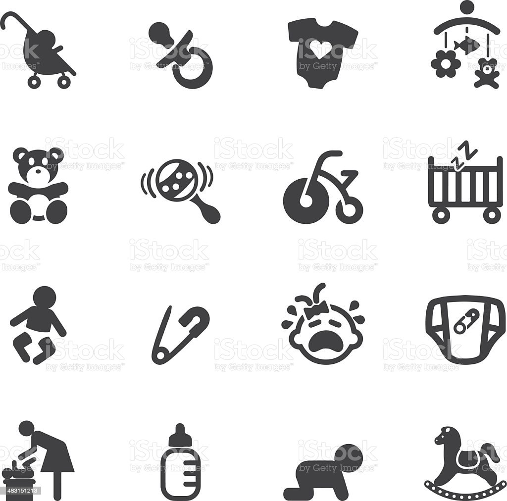 Newborn baby Silhouette  icons vector art illustration