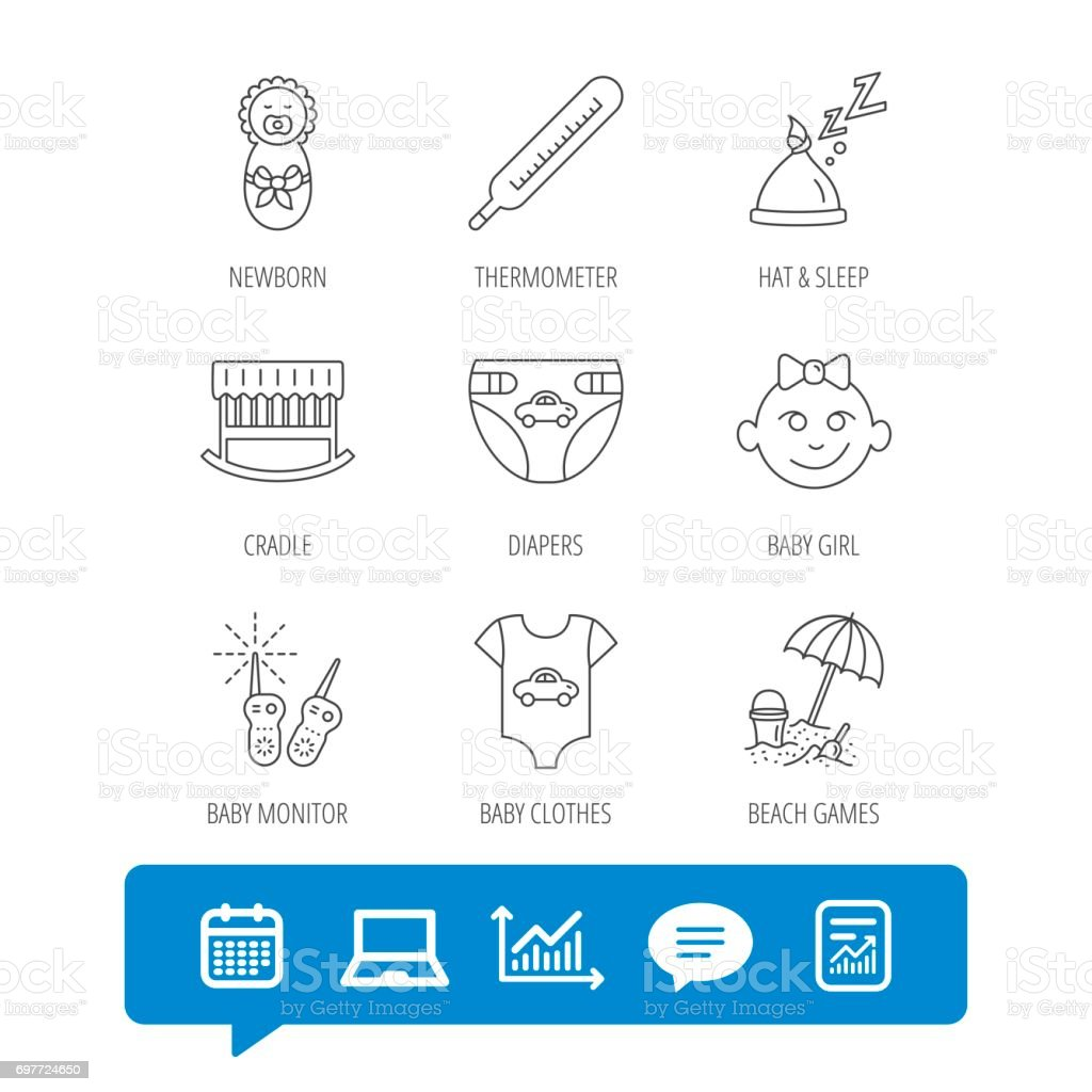 Newborn clothes, diapers and sleep hat icons. vector art illustration