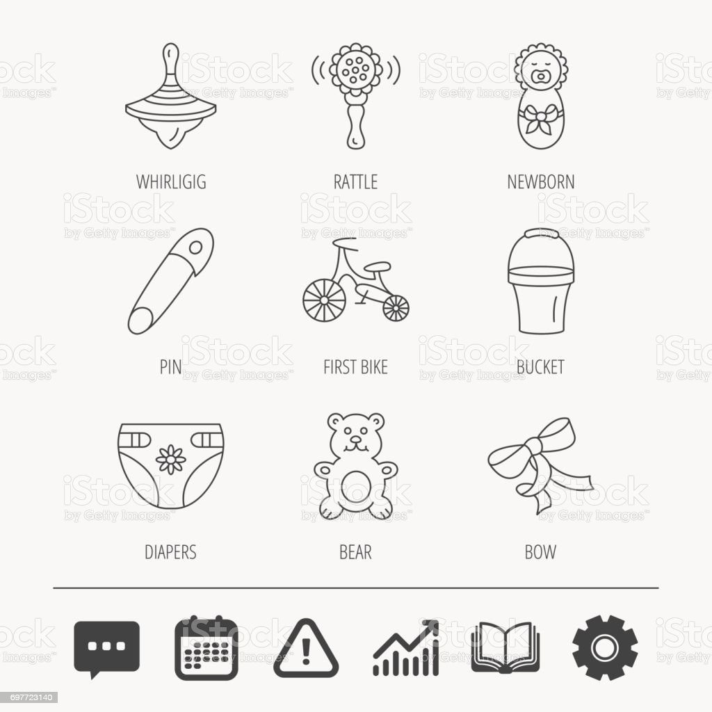 Newborn, diapers and bear toy icons. First bike. vector art illustration