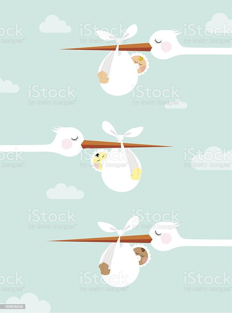 Newborn diversity vector art illustration