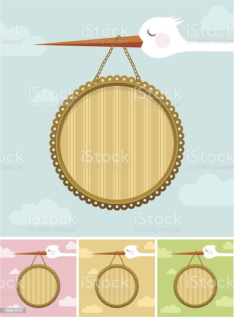 Newborn frame banner placard / stork baby girl boy royalty-free stock vector art