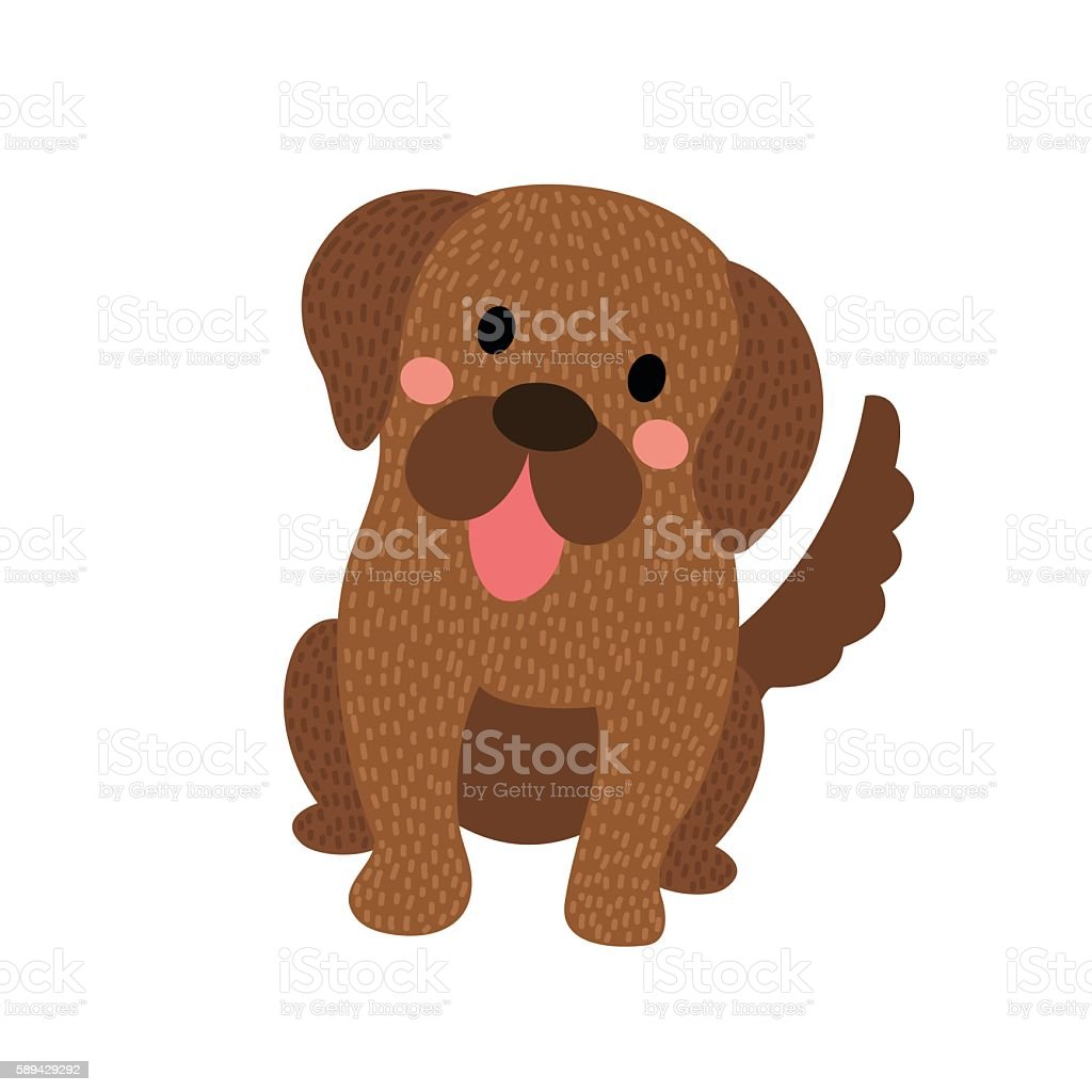 Newfoundland dog sitting animal cartoon character vector illustration. vector art illustration