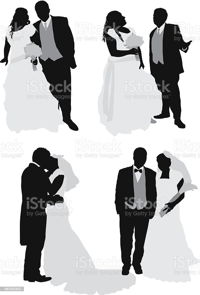 Newly wed couple royalty-free stock vector art