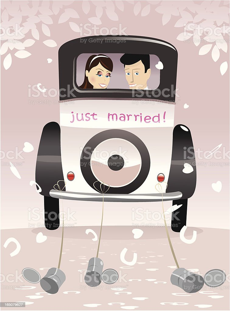 Newlywed couple in antique car vector art illustration