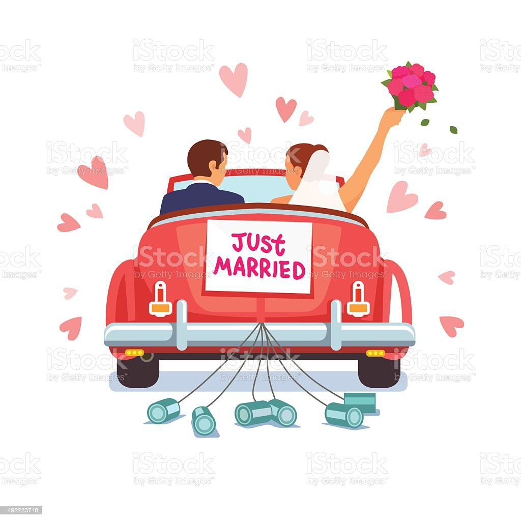 Newlywed couple is driving car for their honeymoon vector art illustration