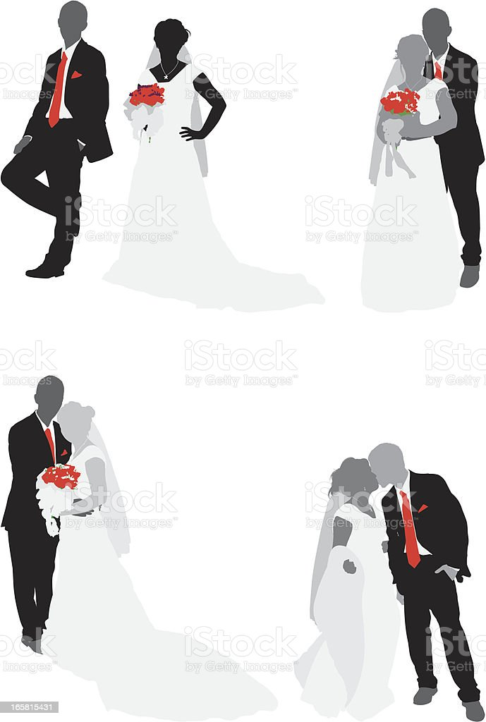 Newlywed couple with bouquet vector art illustration
